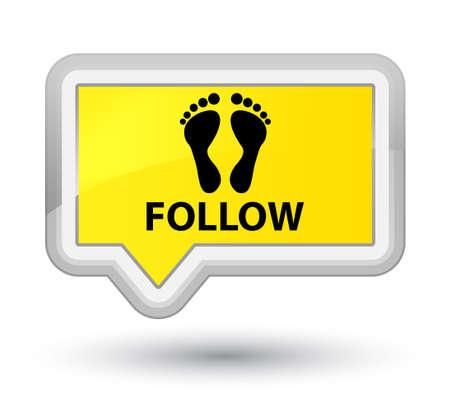 follow: Follow (footprint icon) yellow banner button Stock Photo