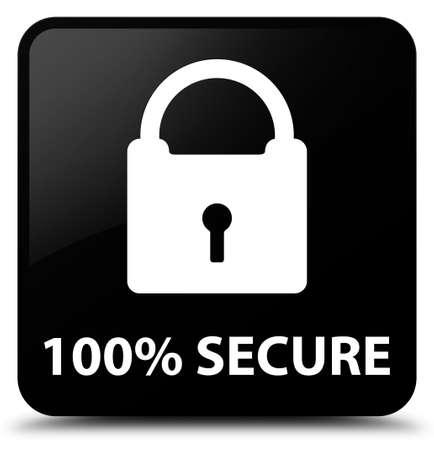 secure: 100% secure black square button Stock Photo