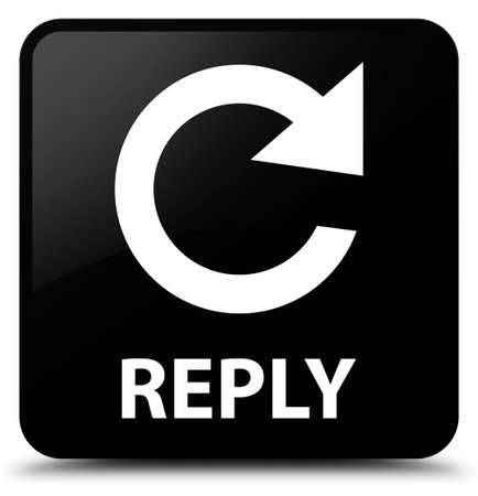 reply: Reply (rotate arrow icon) black square button Stock Photo