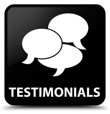 comments: Testimonials (comments icon) black square button