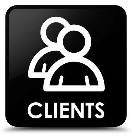 job satisfaction: Clients (group icon) black square button Stock Photo