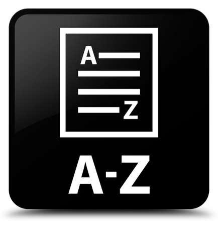 az: A-Z (list page icon) black square button Stock Photo