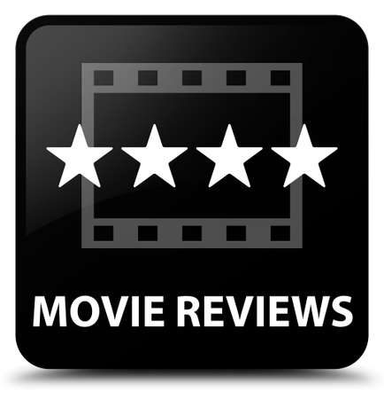 reviews: Movie reviews black square button Stock Photo