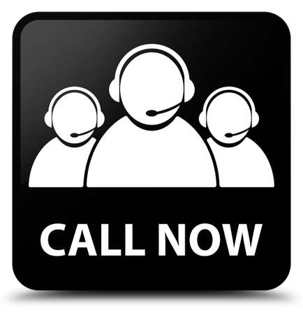 glossy button: Call now (customer care team icon) black square button