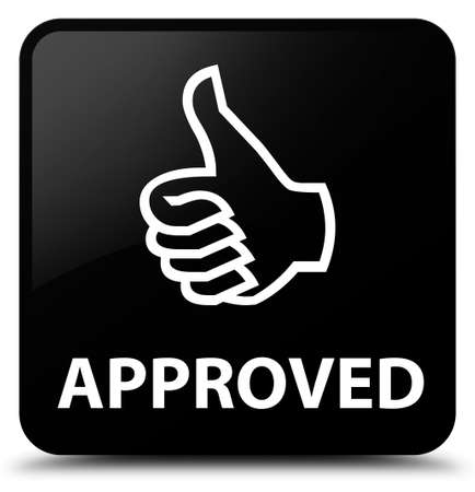 valid: Approved (thumbs up icon) black square button Stock Photo