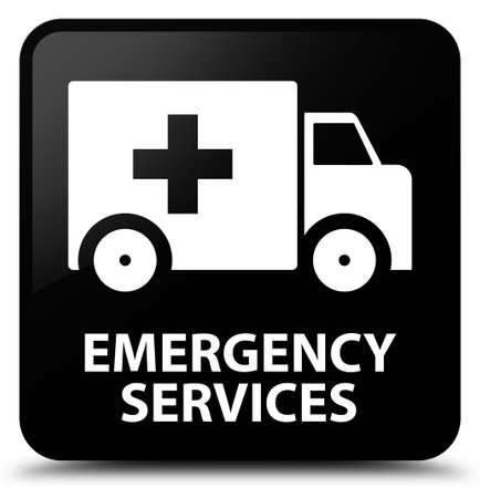 emergency services: Emergency services black square button Stock Photo