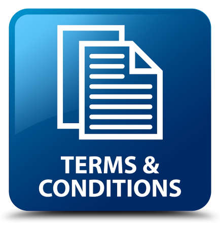 terms: Terms and conditions (pages icon) blue square button Stock Photo