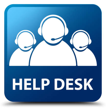 help desk: Help desk (customer care team icon) blue square button