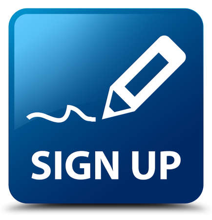 registry: Sign up blue square button Stock Photo