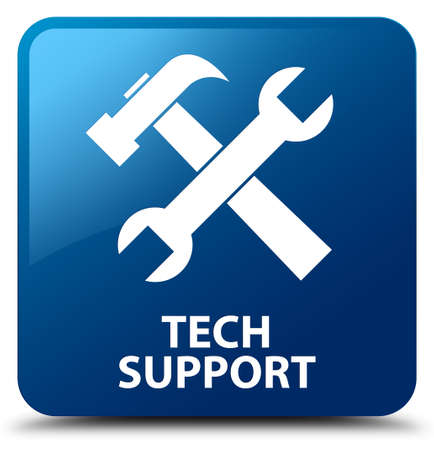 tech support: Tech support (tools icon) blue square button