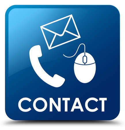 email contact: Contact (phone, email and mouse icon) blue square button
