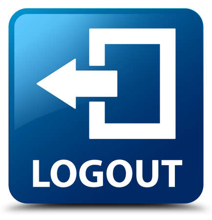 log off: Logout blue square button
