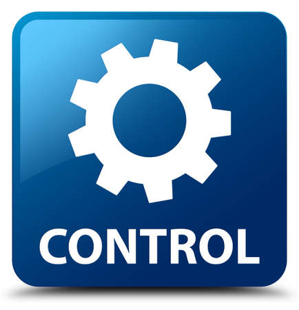 preference: Control (settings icon) blue square button Stock Photo