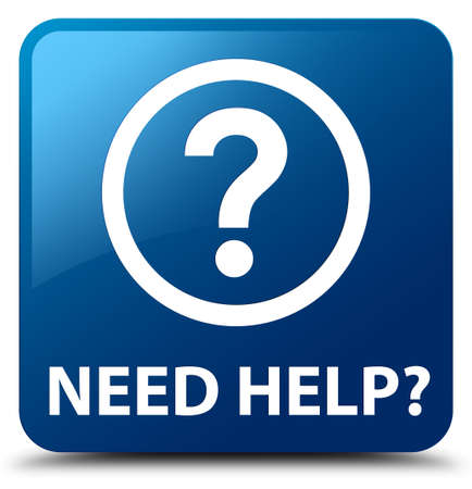 need help: Need help (question icon) blue square button Stock Photo