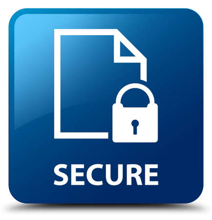 key hole: Secure (document page padlock icon) blue square button