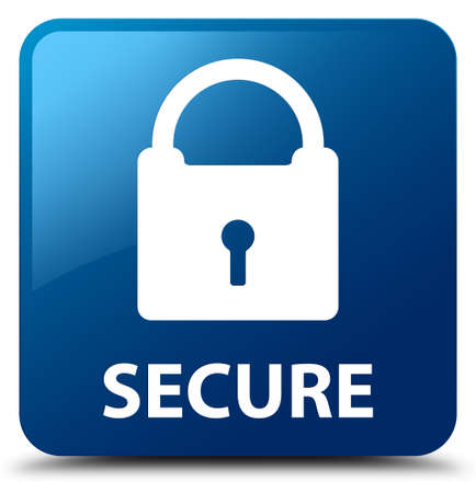 safeguard: Secure (padlock icon) blue square button Stock Photo