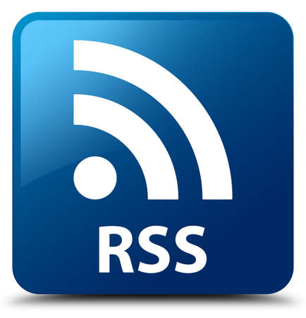 rss: RSS blue square button Stock Photo
