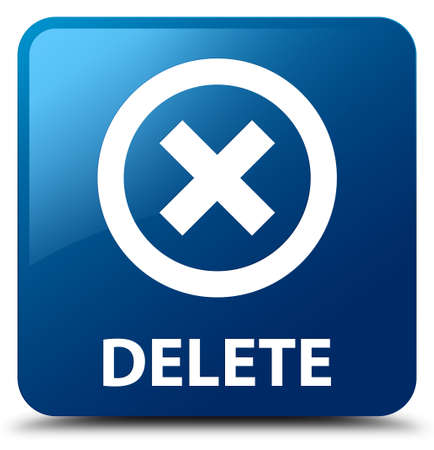 abort: Delete blue square button Stock Photo