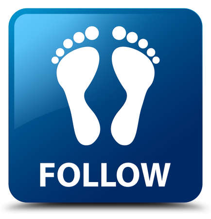 follow: Follow (footprint icon) blue square button Stock Photo