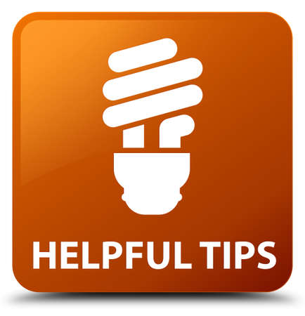 helpful: Helpful tips (bulb icon) brown square button