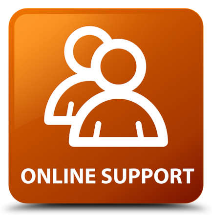 online support: Online support (group icon) brown square button