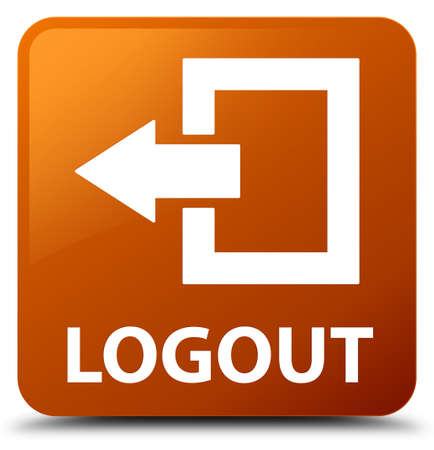 logout: Logout brown square button Stock Photo