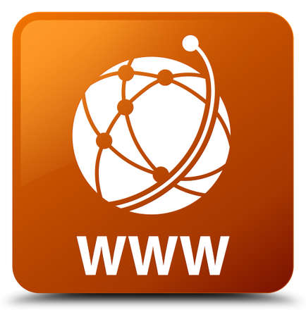 WWW (global network icon) brown square button Stock Photo