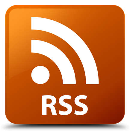 RSS brown square button Stock Photo