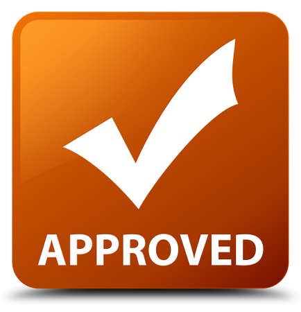valid: Approved (validate icon) brown square button Stock Photo