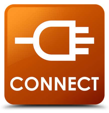 square button: Connect brown square button Stock Photo