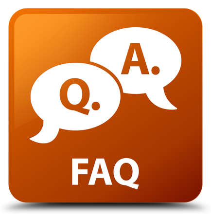 Faq (question answer bubble icon) brown square button Stock Photo