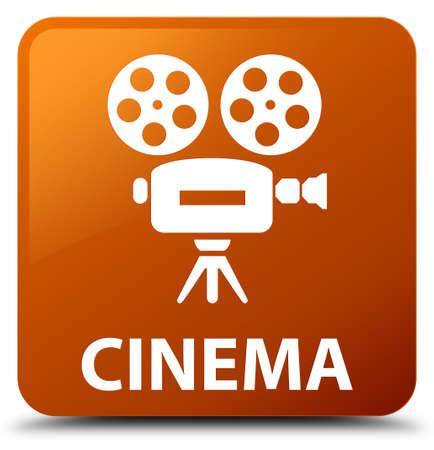 cinematographic: Cinema (video camera icon) brown square button Stock Photo