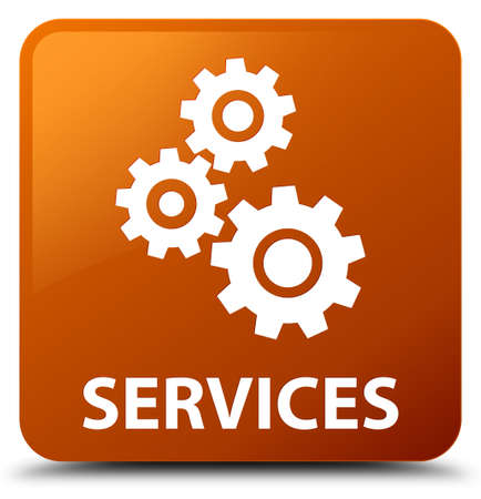 preference: Services (gears icon) brown square button Stock Photo
