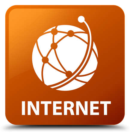galactic: Internet (global network icon) brown square button Stock Photo