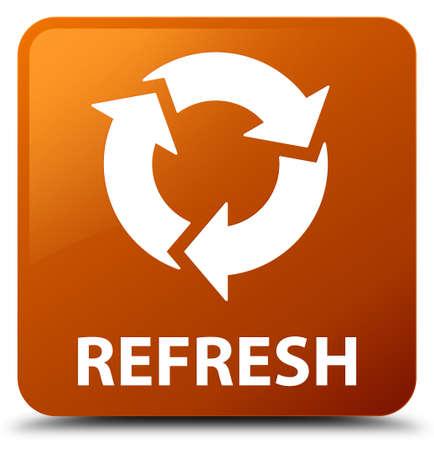 square button: Refresh brown square button Stock Photo