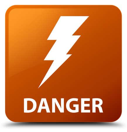 Danger (electricity icon) brown square button Stock Photo