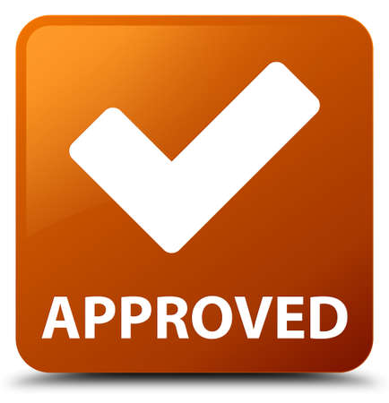 Approved (validate icon) brown square button Stock Photo
