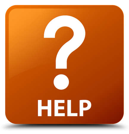Help (question icon) brown square button Stock Photo