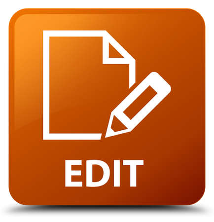Edit brown square button Stock Photo