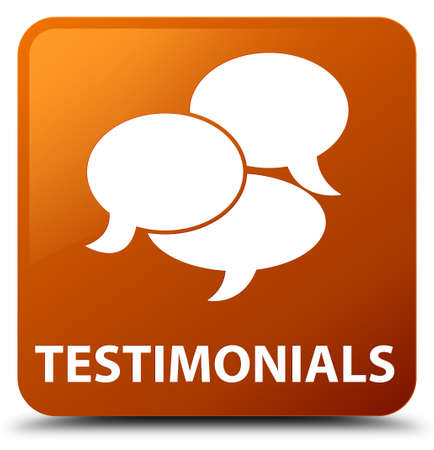 comments: Testimonials (comments icon) brown square button