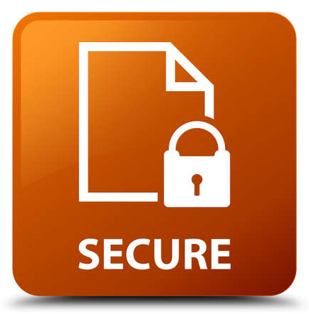 key hole: Secure (document page padlock icon) brown square button