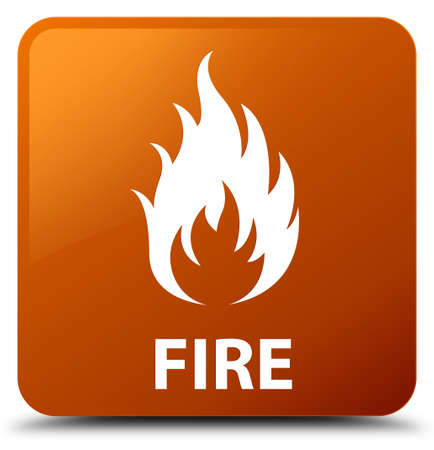 ominous: Fire brown square button Stock Photo