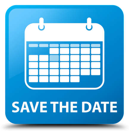 appointments: Save the date cyan blue square button