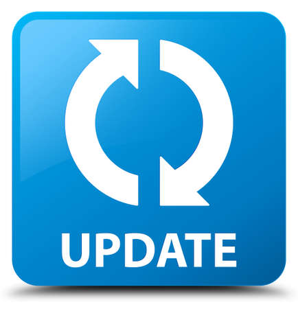 Update cyan blue square button Stock Photo