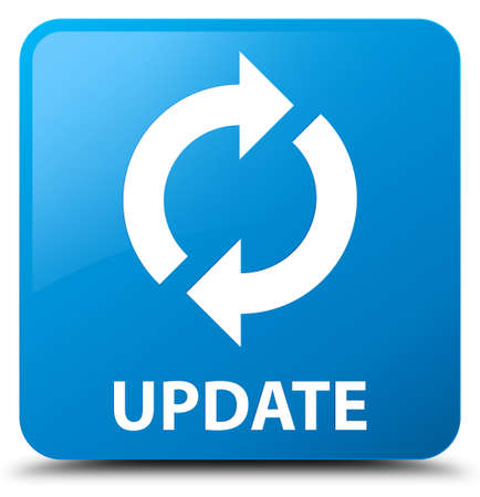 update: Update cyan blue square button Stock Photo