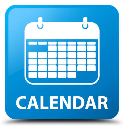 cyan: Calendar cyan blue square button Stock Photo