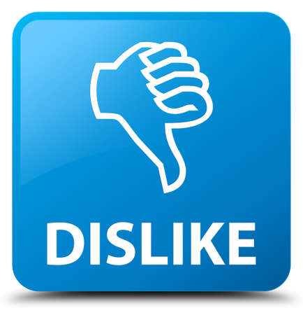 disapprove: Dislike cyan blue square button Stock Photo