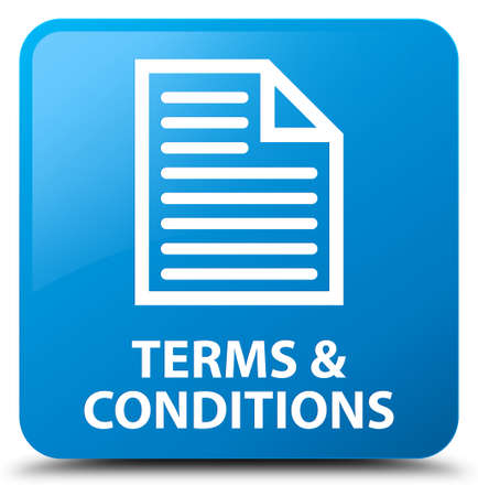 terms: Terms and conditions (page icon) cyan blue square button Stock Photo