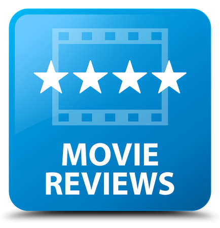 reviews: Movie reviews cyan blue square button