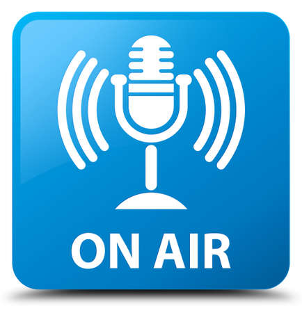 On air (mic icon) cyan blue square button